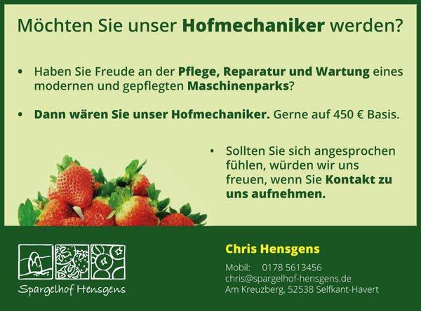 Spargelhof Hensgens Jobs | Hofmechaniker
