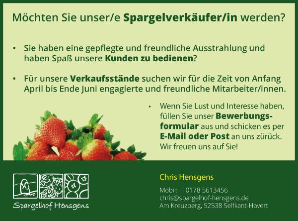 Spargelhof Hensgens Jobs | Spargelverkäufer/in